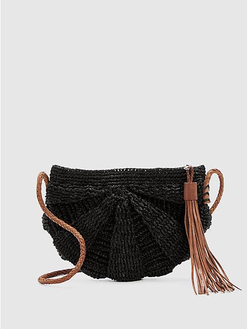 Mar Y Sol Crocheted Raffia Zoe Crossbody Bag