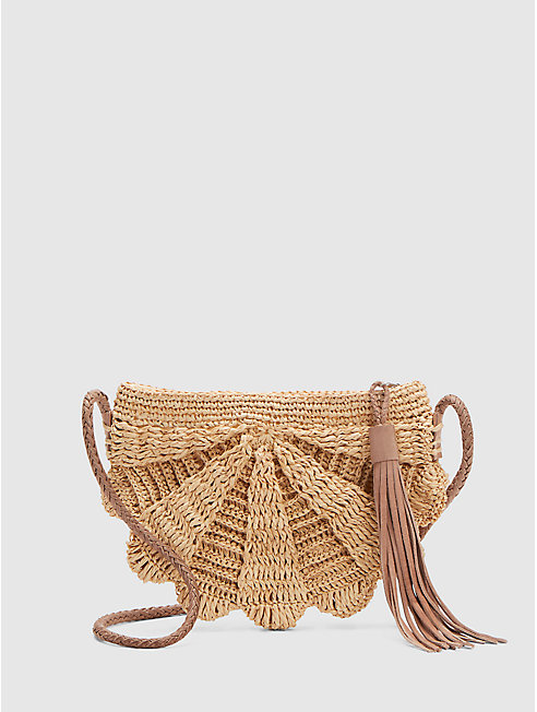 Mar Y Sol Crocheted Raffia Zoe Crossbody Bag