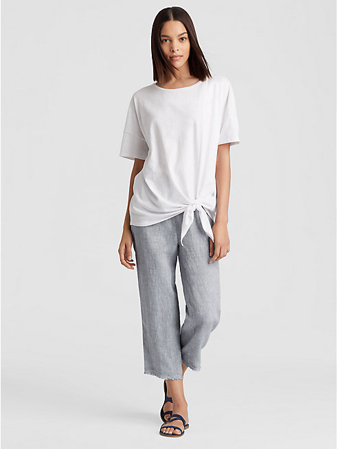 Yarn-Dyed Organic Handkerchief Linen Straight Cropped Pant
