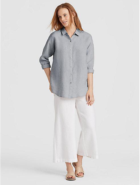 Yarn-Dyed Organic Handkerchief Linen Shirt