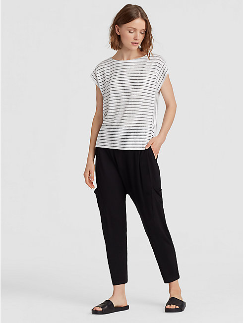 Organic Linen Jersey Stripe Cap-Sleeve Box-Top