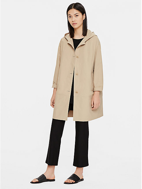 Light Organic Cotton Nylon Hooded Trench Coat