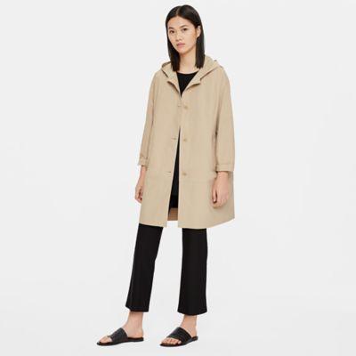 Light Organic Cotton Nylon Hooded Trench Coat