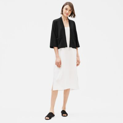 Organic Linen Crepe Stretch Short Cardigan
