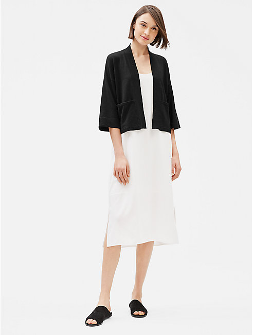 Organic Linen Crepe Stretch Short Cardigan