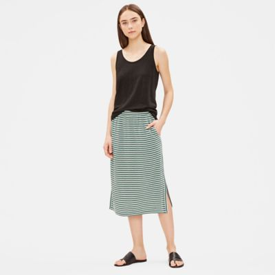 Organic Linen Jersey Striped Skirt