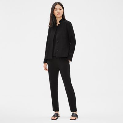 Tencel Stretch Grid Stand Collar Jacket