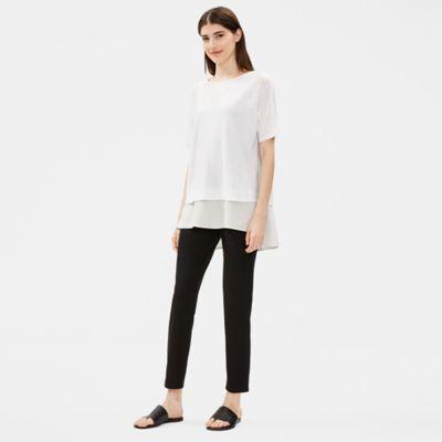 Organic Linen Cotton Elbow-Sleeve Top
