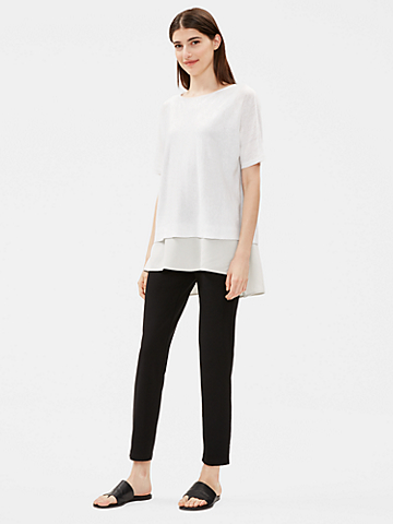 Organic Linen Cotton Elbow-Sleeve Top