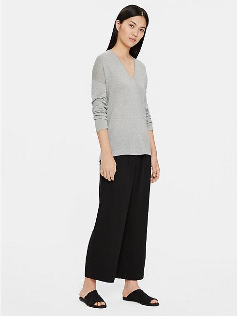 Fine Silk Cashmere V-Neck Top
