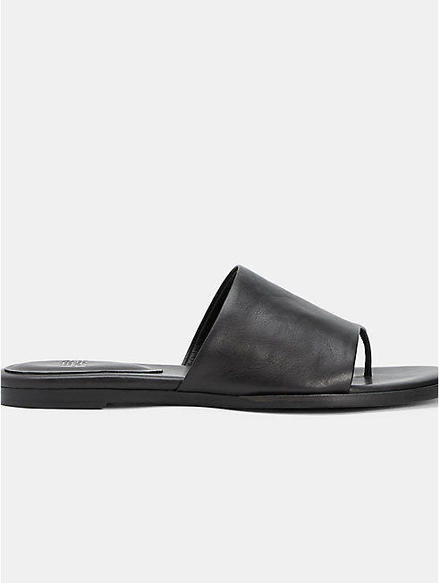 Edge Washed Leather Slide