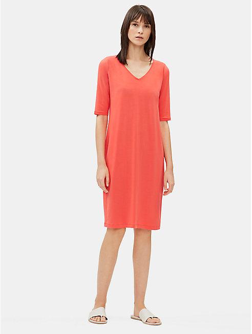 Tencel Jersey V-Neck Shift Dress
