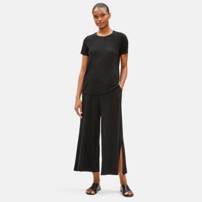 Tencel Jersey Wide-Leg Slit Pant