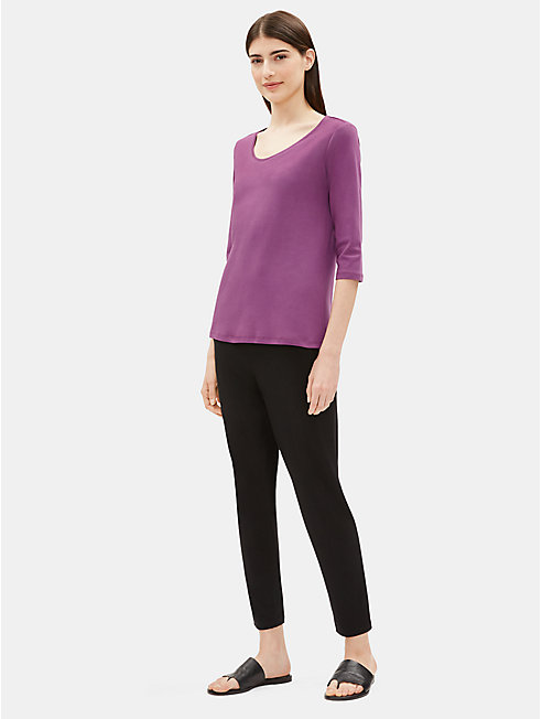 Organic Cotton Interlock Rounded V-Neck Top