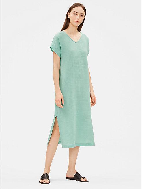 Organic Cotton Gauze V-Neck Dress