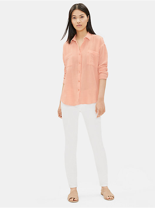 0831134efa0 PEACH QUICK VIEW. PEACH  PINE NEEDLE. Organic Cotton Gauze Classic Collar  Shirt
