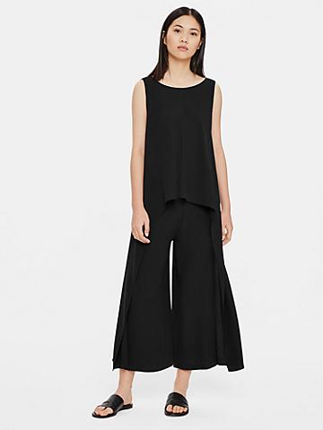 Silk Georgette Crepe Drape Front Jumpsuit