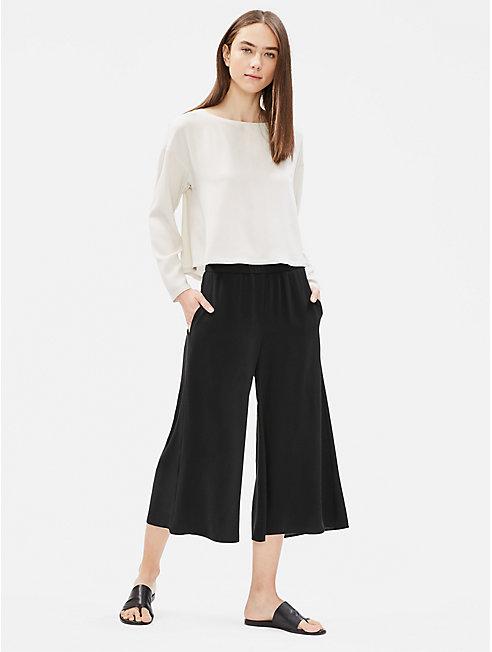 Silk Georgette Crepe Wide Cropped Pant
