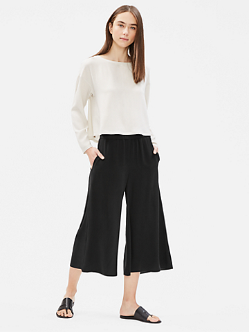 Silk Georgette Crepe Wide Cropped Pant