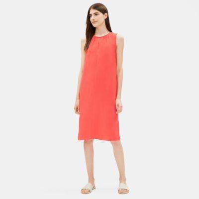 Tencel Viscose Crepe Round Neck Dress