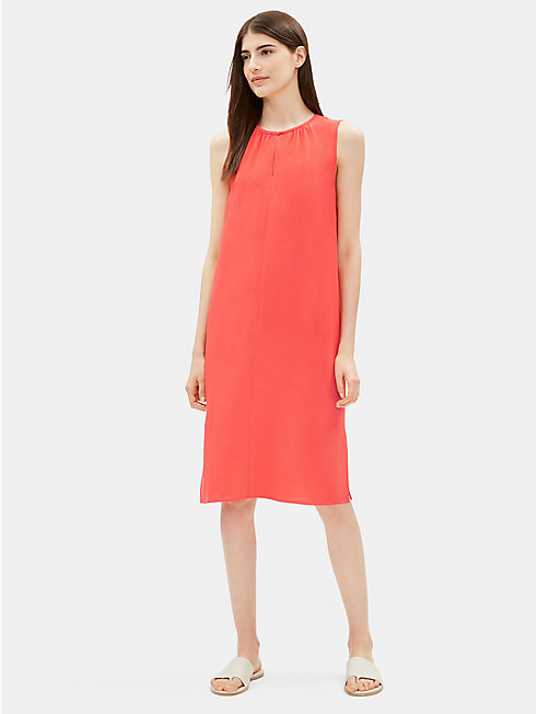 Tencel Viscose Crepe Round Neck Dress