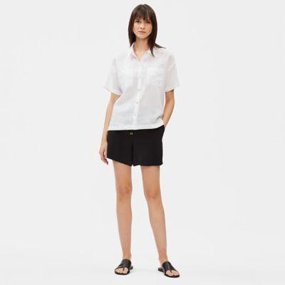 Tencel Viscose Crepe Drawstring Shorts