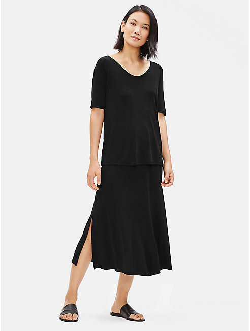 Stretch Silk Jersey A-Line Skirt