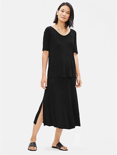 Stretch Silk Jersey A-Line Skirt