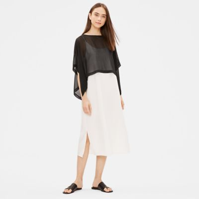 Sheer Silk Georgette Cropped Poncho
