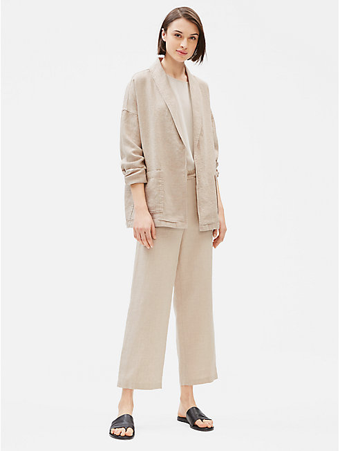 Organic Linen Shawl Collar Jacket