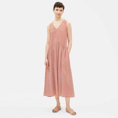 Silk Crepe de Chine Drop-Waist Dress