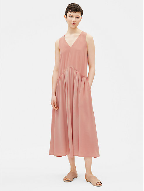 Silk Crepe de Chine Drop-Waist Dress