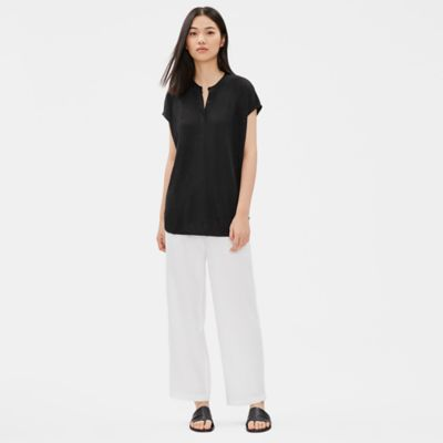 Organic Linen Jersey Mandarin Collar Tunic