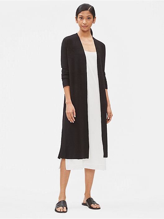 b750a3ac09d QUICK VIEW. BLACK. Organic Linen Crepe Stretch Duster Cardigan