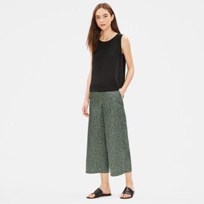 Silk Organic Cotton Dash Wide-Leg Pant