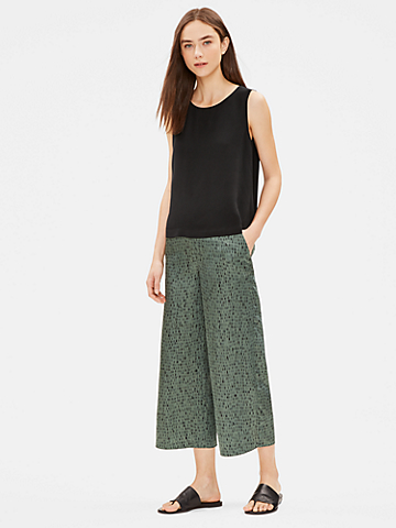 Silk Organic Cotton Dash Wide-Leg Pant