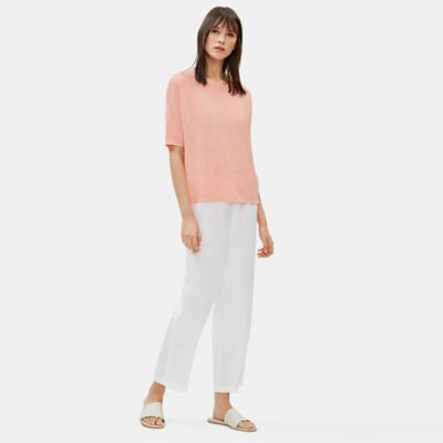 Organic Linen Mélange Elbow-Sleeve Top