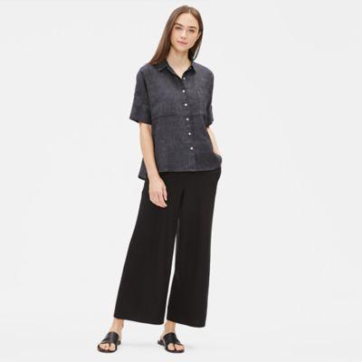 Organic Linen Délavé Elbow-Sleeve Shirt