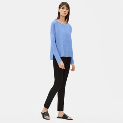 Organic Linen Knit Bateau Neck Box-Top