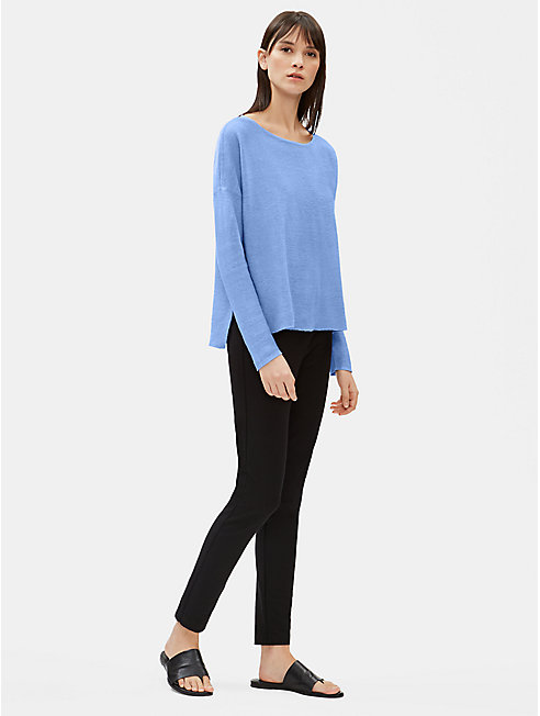 Organic Linen Knit Bateau Neck Box-Top