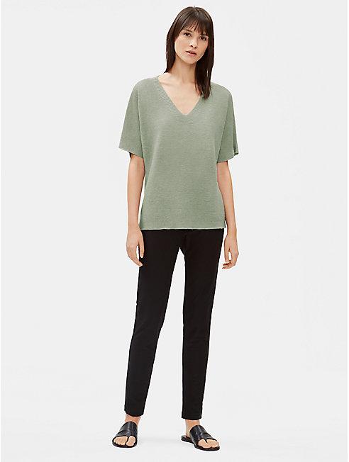 Organic Linen Knit Deep V-Neck Top