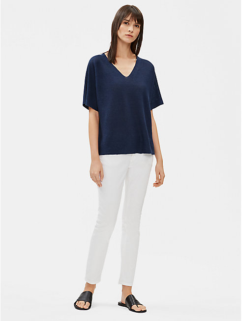Organic Linen Knit Deep V-Neck Top