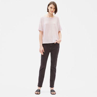Organic Linen Knit Short-Sleeve Box-Top