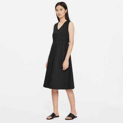 Organic Cotton Poplin V-Neck Dress
