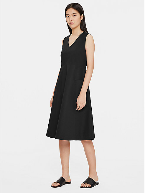 Organic Cotton Poplin V-Neck Dress