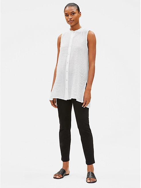 Organic Cotton Voile Mandarin Collar Shirt