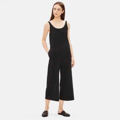 Cotton Stretch Jersey Wide-Leg Jumpsuit
