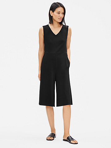 Cotton Stretch Jersey V-Neck Jumpsuit