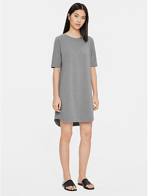 Heathered Organic Cotton Elbow-Sleeve Dress
