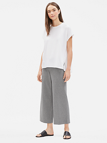 Heathered Organic Cotton Jersey Wide Cropped Pant